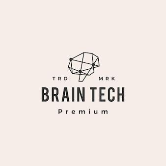 Logo vintage di cervello tech connessione hipster