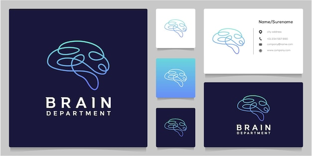 Design del logo a linea continua brain tech con biglietto da visita