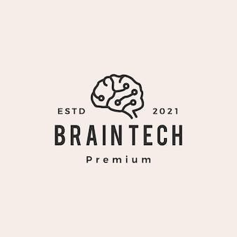 Logo vintage di cervello tech hipster