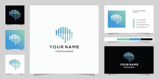 Brain tech line art logo design vector con modello sfondo biglietto da visita