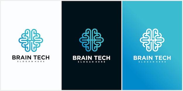 Design del logo di tecnologia del cervello