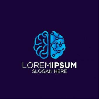 Logo moderno di tecnologia del cervello