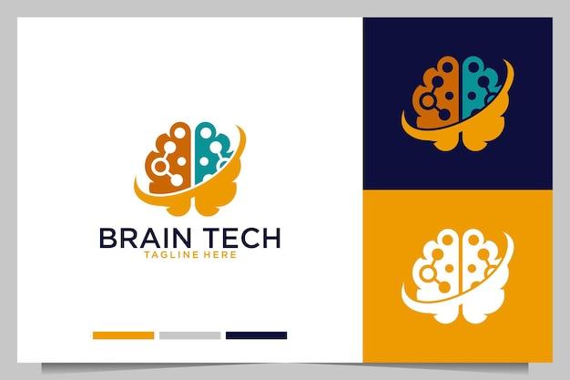 Design moderno del logo della tecnologia del cervello