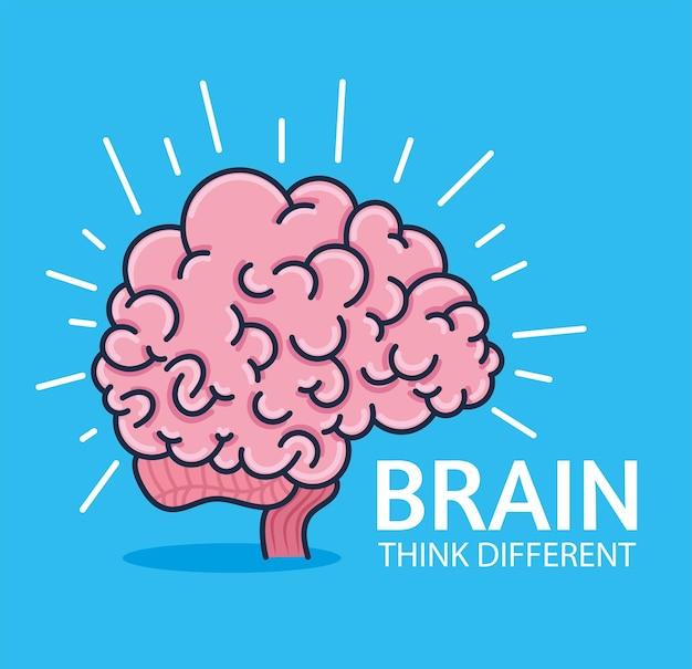 Il cervello pensa diversamente Vettore Premium