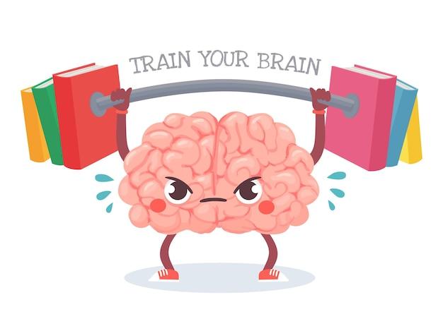 Allenamento del cervello. il cervello del fumetto solleva il peso con i libri. allena la tua memoria, lo studio, l'apprendimento e il concetto di vettore di educazione alla conoscenza. personaggio che suda con il bilanciere, allenamento per la mente