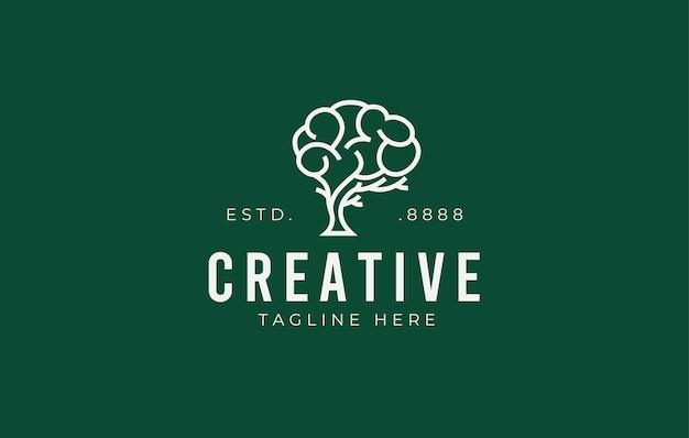 Progettazione del logo dell'albero del cervello illustrazione creativa e intelligente della crescita del cervello