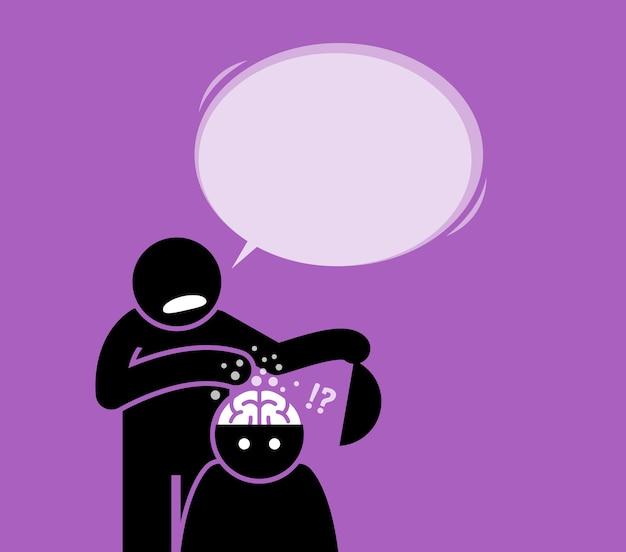 Lavaggio del cervello o lavaggio del cervello. un uomo sta facendo il lavaggio del cervello a un'altra persona aprendo la sua testa e pulendo il cervello mentre gli dice qualcosa.