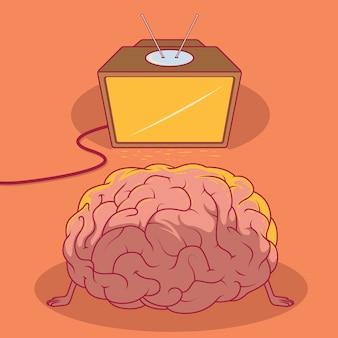 Cervello che guarda la tv. conoscenza del concetto di design