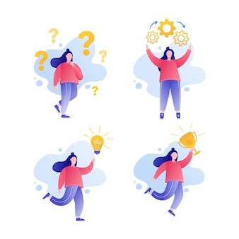 Concetto di brainstorming icona domanda e lampadina risoluzione dei problemi