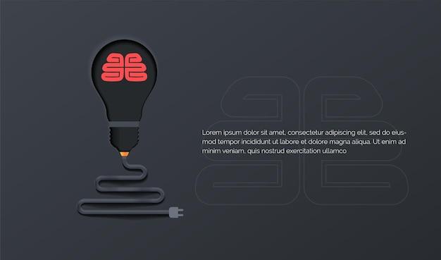 Brainstorm idea creativa invenzione ispirazione innovazione soluzione lampada tagliata carta