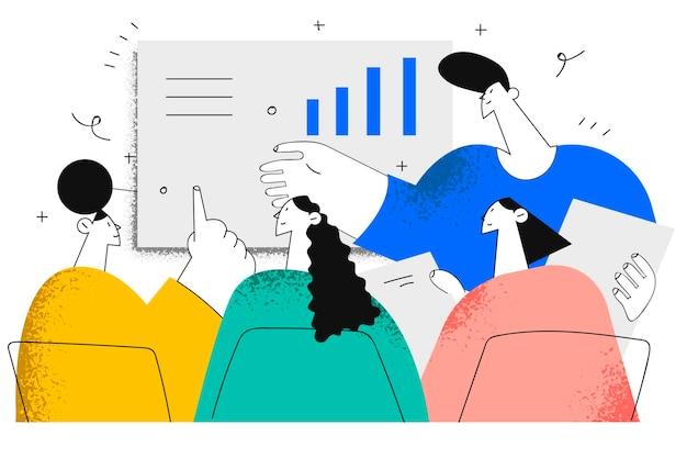 Brainstorm, negoziazioni, riunioni nel concetto di ufficio.