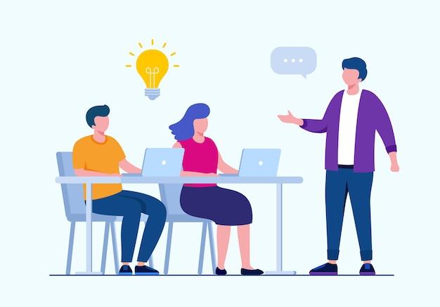 Brainstorming business o concetto di lavoro di squadra piatto illustrazione vettoriale per banner landing page