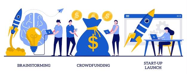 Brainstorming, crowdfunding, illustrazione di lancio di start-up con persone minuscole