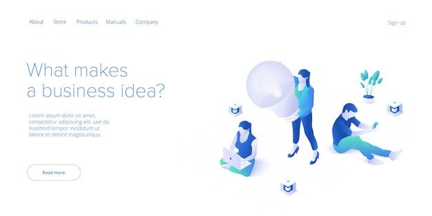 Concetto di sessione di brainstorming in job manager isometrico alla ricerca di manager per l'assunzione di reclutamento