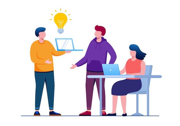 Team di brainstorming o concetto di conversazione piatta illustrazione vettoriale per la pagina di destinazione del banner