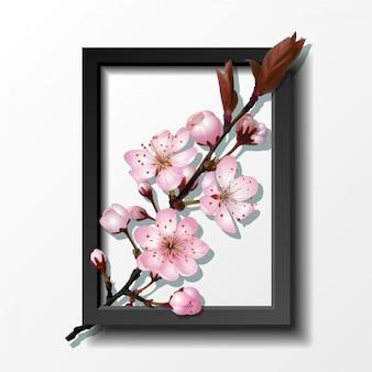 Ramo di fiori di ciliegio rosa sakura nel telaio