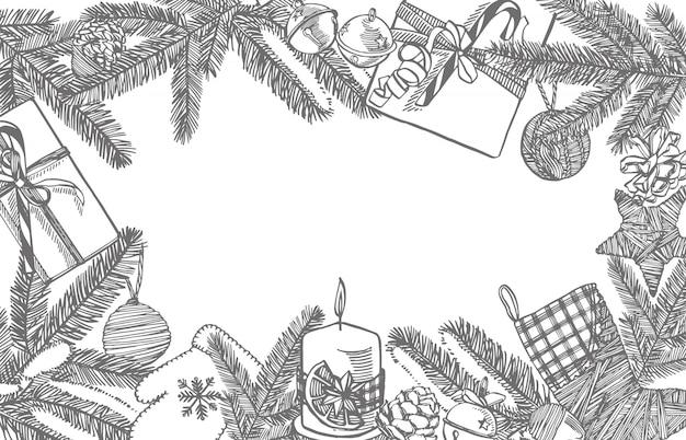 Rami di alberi di natale e giocattoli per alberi di natale. elementi di design di natale e capodanno. . illustrazione d'epoca