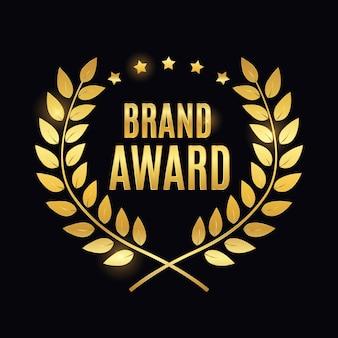 Segno di etichetta d'oro del premio del marchio.