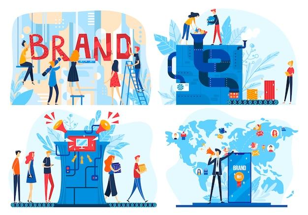 Illustrazioni di processo di costruzione del marchio, team di persone sviluppatore di cartoni animati che creano prodotti aziendali, icone del flusso di lavoro di branding aziendali