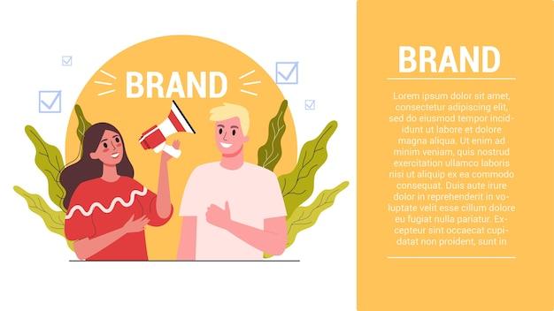 Concetto di marca. unico di un'azienda. riconoscimento del marchio come parte della strategia di marketing. illustrazione
