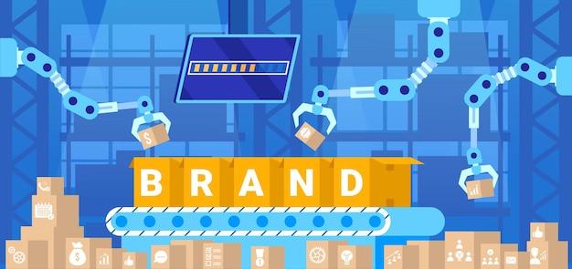 Trasportatore di marca, illustrazione di concetto di affari.
