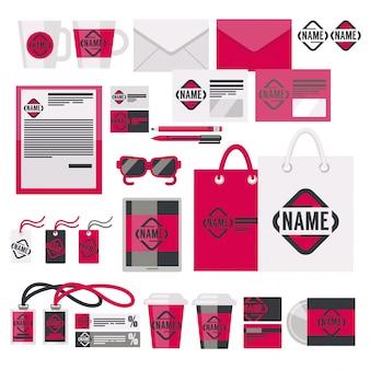Elementi di identità del marchio e set vettoriale accessoria