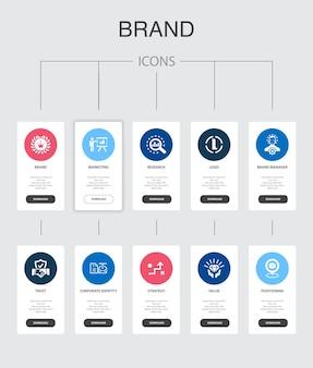 Infografica del marchio 10 passaggi ui design.marketing, ricerca, brand manager, strategia semplice icone