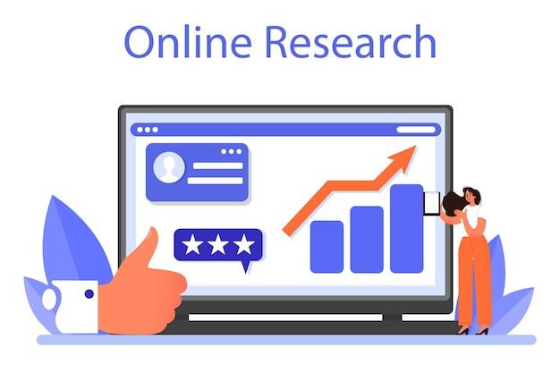 Servizio o piattaforma online di gestione del marchio. design unico della creazione e dello sviluppo di un'azienda. ricerca in linea. illustrazione piatta isolata