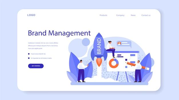 Banner web di gestione del marchio o pagina di destinazione. design unico della creazione e dello sviluppo di un'azienda. riconoscimento del marchio come strategia di marketing e promozione. illustrazione piatta isolata
