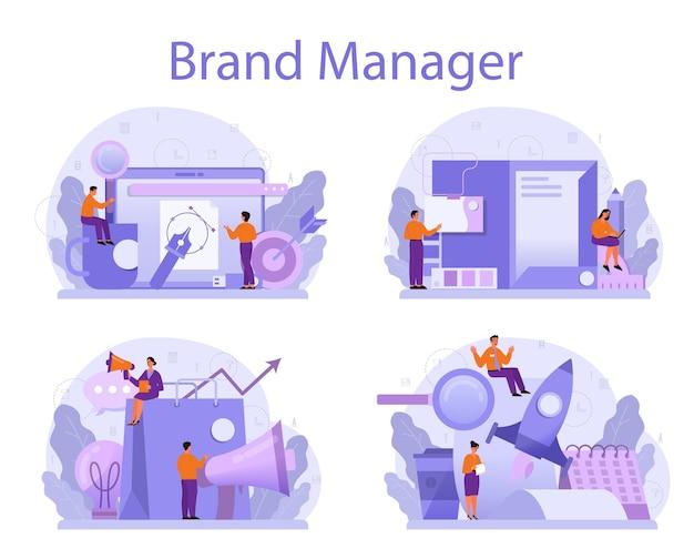 Insieme di concetto di brand manager.