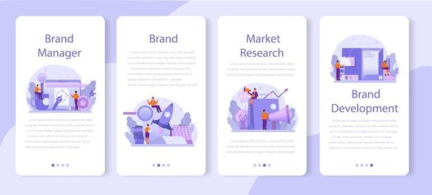 Set di banner per applicazioni mobili di brand manager
