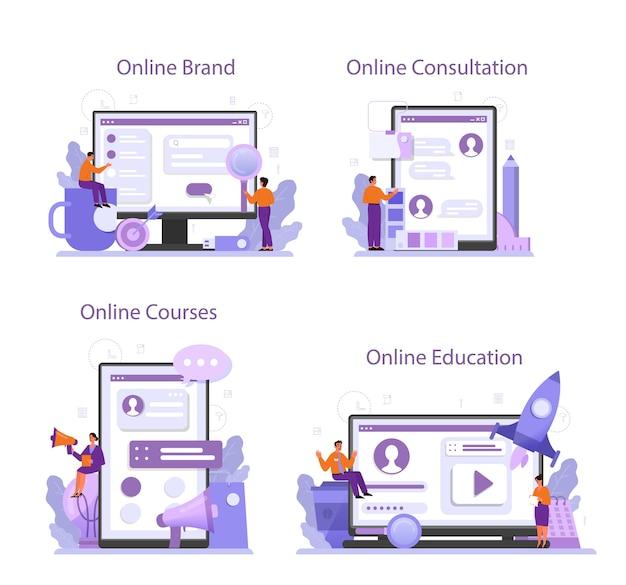 Servizio online di brand manager o set di piattaforme.
