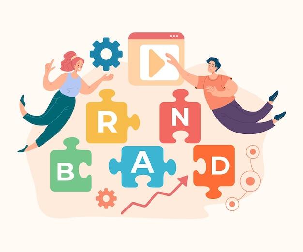 Concetto di pubblicità di sviluppo del menegement del marchio