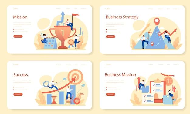 Banner web di missione del marchio o set di pagine di destinazione