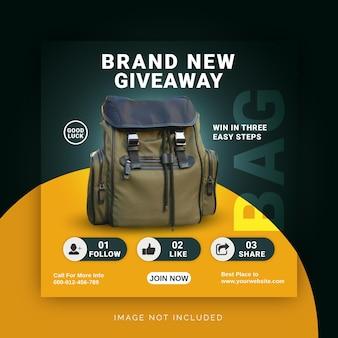 Brand new giveaway smart bag instagram post banner modello di post sui social media