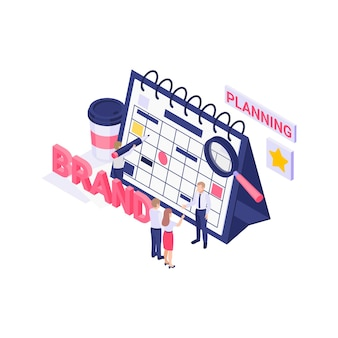 Concetto di strategia di pianificazione del marchio con calendario isometrico e illustrazione 3d di personaggi umani