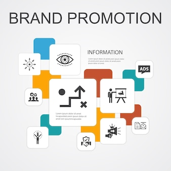 Promozione del marchio infografica 10 icone di linea modello.strategia, marketing, marchio personale, icone semplici pubblicitarie