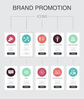 Promozione del marchio infografica 10 passaggi ui design.strategy, marketing, personal brand, advertising semplici icone