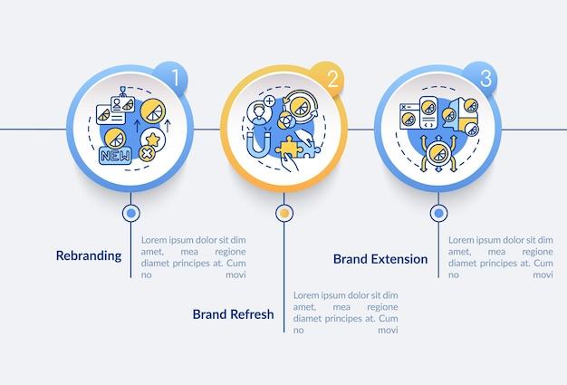 Modello di infografica vettoriale riprogettazione del marchio. elementi di progettazione del profilo di presentazione dell'estensione di produzione. visualizzazione dei dati con 3 passaggi. grafico delle informazioni sulla sequenza temporale del processo. layout del flusso di lavoro con icone di linea