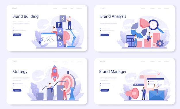 Layout web del marchio o set di pagine di destinazione. strategia di marketing e design unico di un'azienda o di un prodotto. riconoscimento e comunicazione del marchio come parte del piano aziendale.