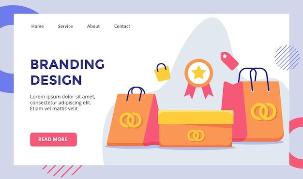 Logo di progettazione del marchio sulla campagna della scatola del sacchetto della spesa per banner del modello di pagina di destinazione della home page del sito web con stile piatto moderno