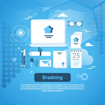 Insegna marcante di web di concetto di tecnologia di vendita di idea di marca con lo spazio della copia