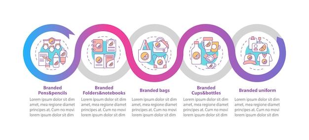 Modello di infografica vettoriale di materiali di branding. penne di marca, elementi di design del contorno di presentazione delle borse. visualizzazione dei dati con 5 passaggi. grafico delle informazioni sulla sequenza temporale del processo. layout del flusso di lavoro con icone di linea
