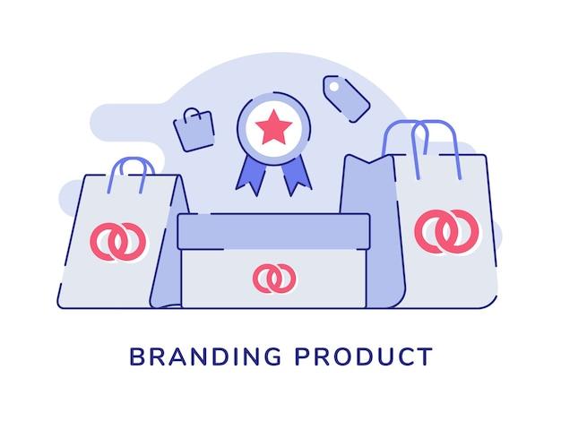 Marchio di concetto del prodotto logo sulla scatola confezione shopping bag bianco sullo sfondo isolato