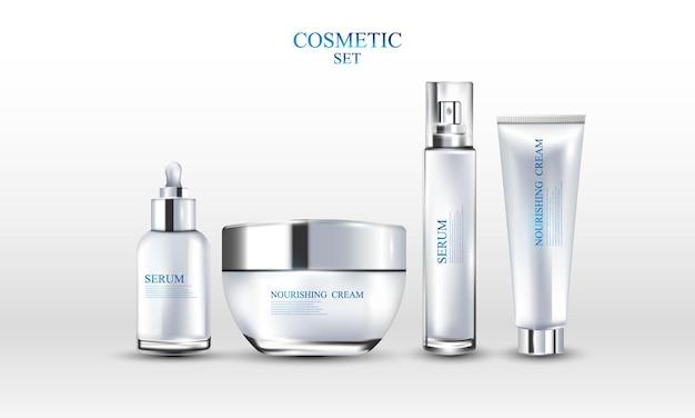 Prodotti di branding confezione tubo cosmetico di crema astratto sfondo oro bianco poster bellezza con dinamica.