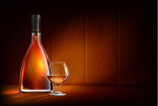 Illustrazione realistica della composizione delle bottiglie di vetro del whisky del cognac del brandy
