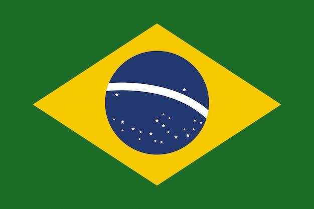 Illustrazione piana di vettore di vettore della bandiera del brasile