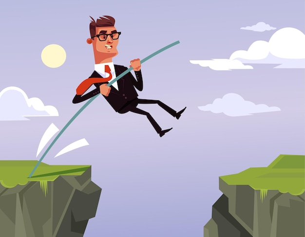 Salto coraggioso del carattere di lavoratore di ufficio dell'uomo d'affari
