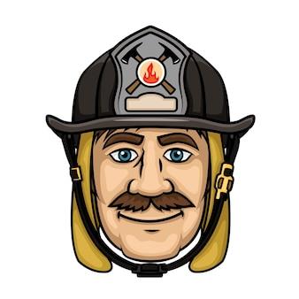 Coraggioso vigile del fuoco in stile cartone animato con sorridente vigile del fuoco baffuto in cappuccio protettivo e casco nero