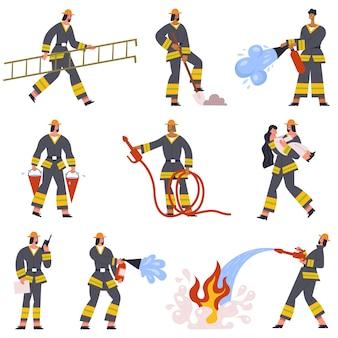 I vigili del fuoco coraggiosi salvano i personaggi dei servizi di emergenza in azione. vigile del fuoco con set di illustrazioni vettoriali per attrezzature di salvataggio antincendio. servizio di emergenza dei vigili del fuoco
